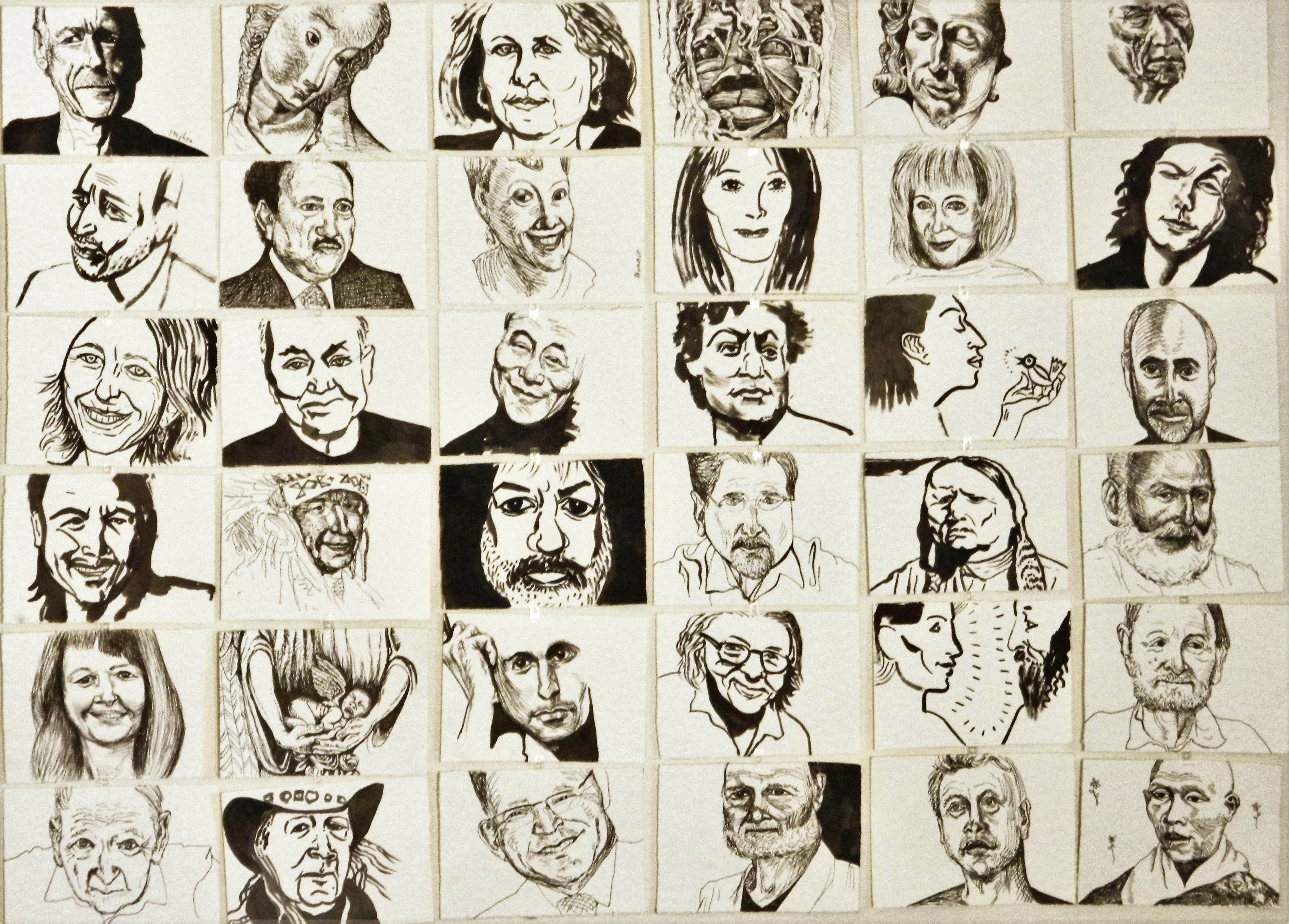 """Part of 20 foot by 7 foot """"portrait of collective consciousness"""""""
